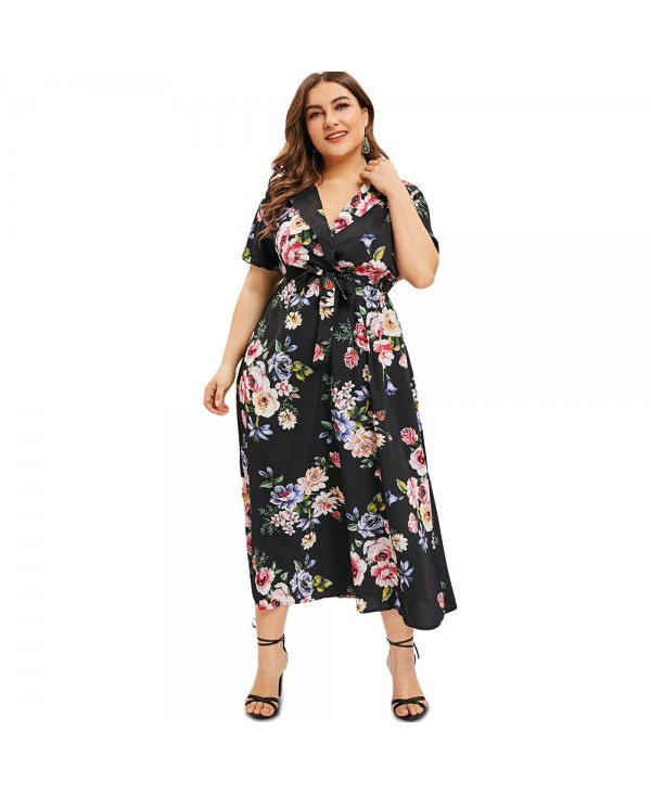 Short Sleeve Plus Size Floral Print Maxi Dress