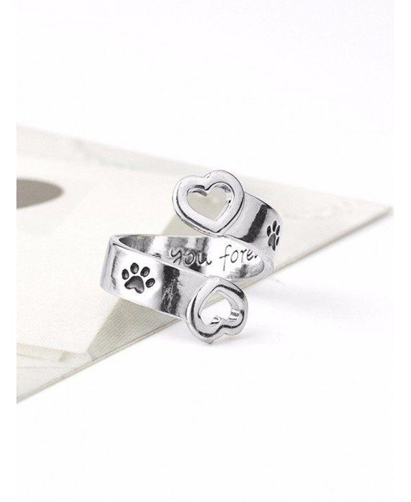 Love You Forever Claw Footprint Heart Ring
