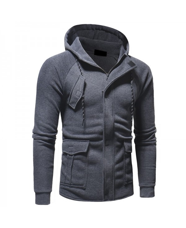 Men's Casual Fashion Solid Color Slim Long Sleeve Hoodie