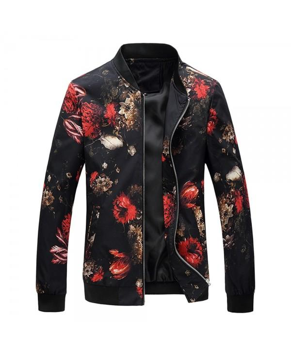 Men Flower Printed Long Sleeve Zipper Jacket