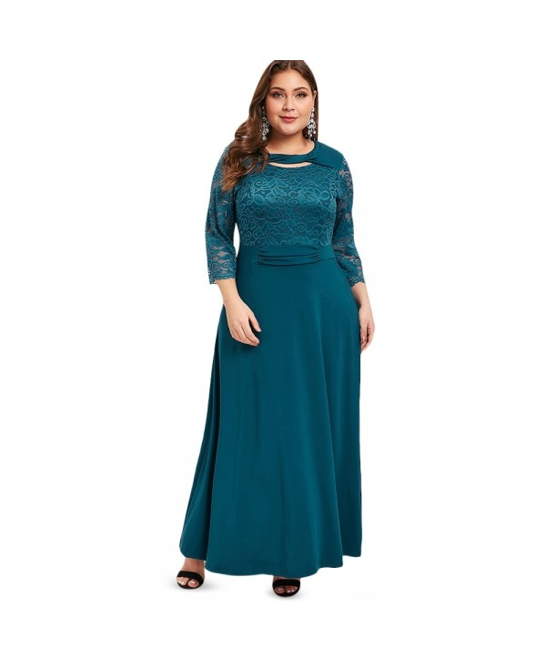 Plus Size Lace Cut Out Panel Maxi Dress
