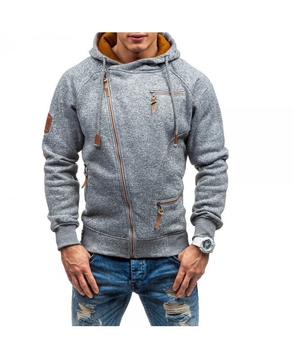 Men's Casual Cationic Long-Sleeved Slim Hoodie