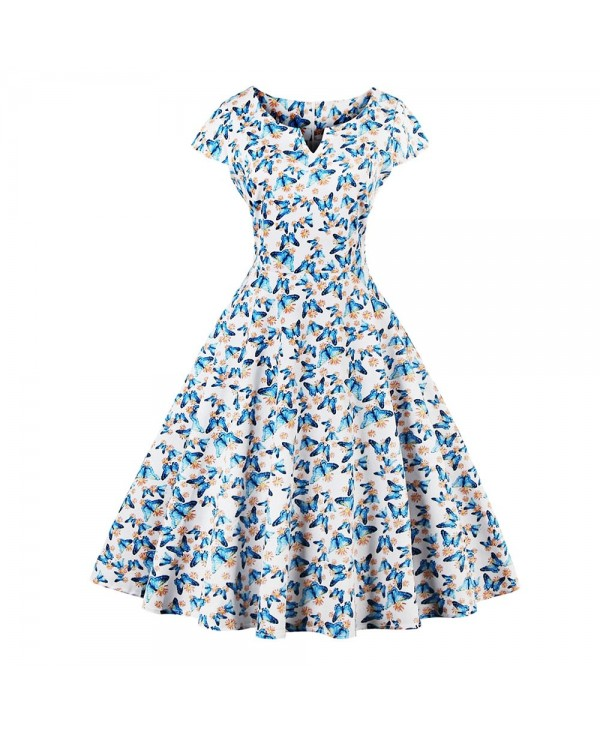 Short Sleeve Butterfly Floral Print A-line Zipper Women Dress