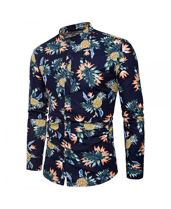 Pineapple Flower Print Long Sleeve Shirt