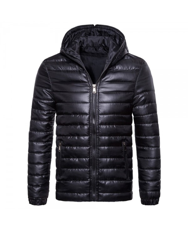 Hooded Collar Long Sleeve Solid Color Lightweight Men Down Jacket