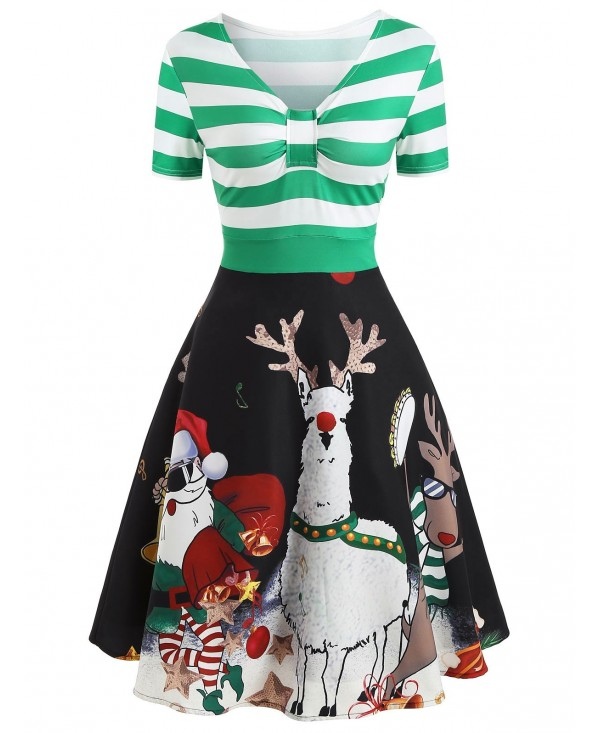 Christmas Deer Print Vintage Dress