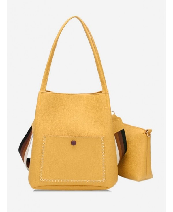 Soild Color Design PU Shoulder Bag