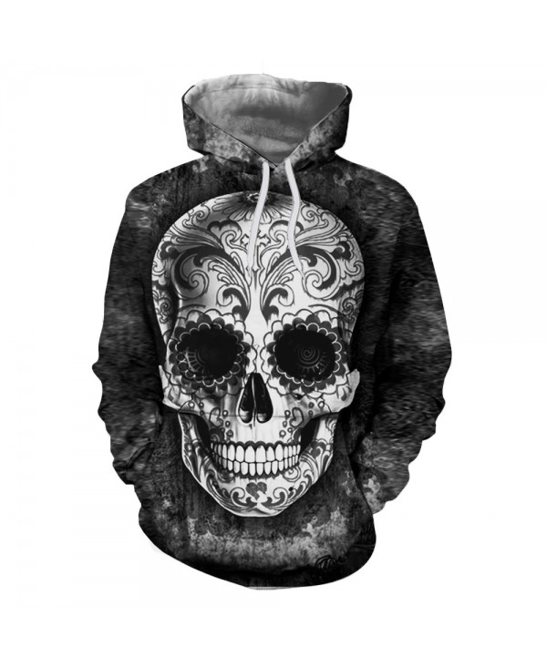 3D Skull Demon Digital Thermal Transfer Printing Fashion Men's Hoodied Sweater