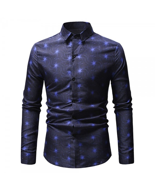 Firework Print Button Down Long Sleeves Shirt