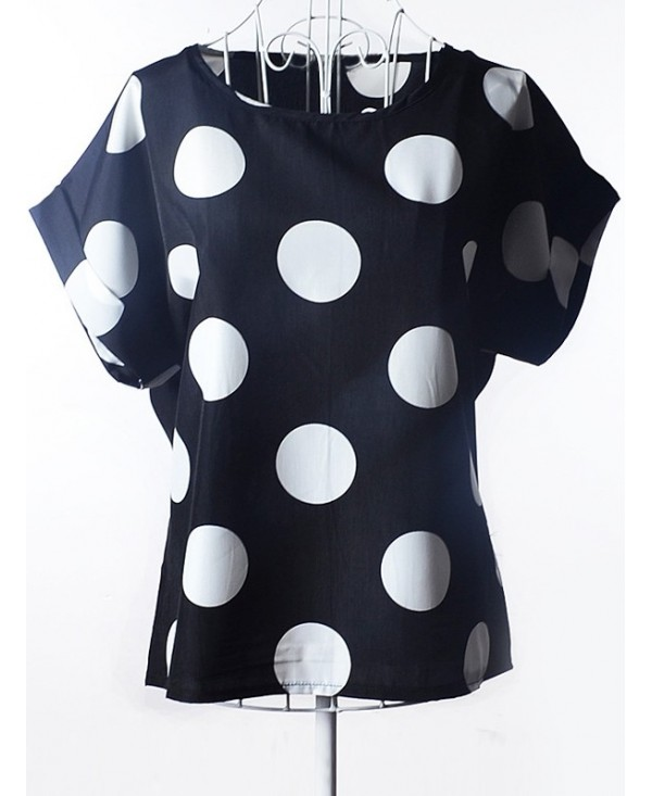 Simple Plus Size Scoop Neck Polka Dot Pattern Short Sleeves Blouse For Women