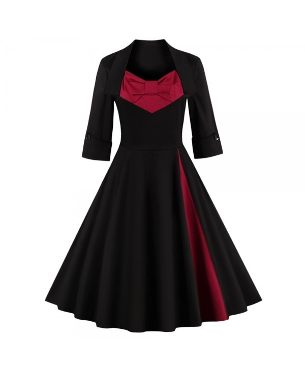Bowknot Panel Flare Rockabilly Swing Dress