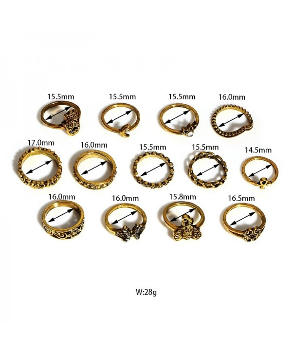 13pcs Retro Engraving Finger Ring