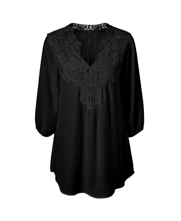Women's Chiffon Blouse Lace Patchwork V-neck Seven-point Sleeve Blouse