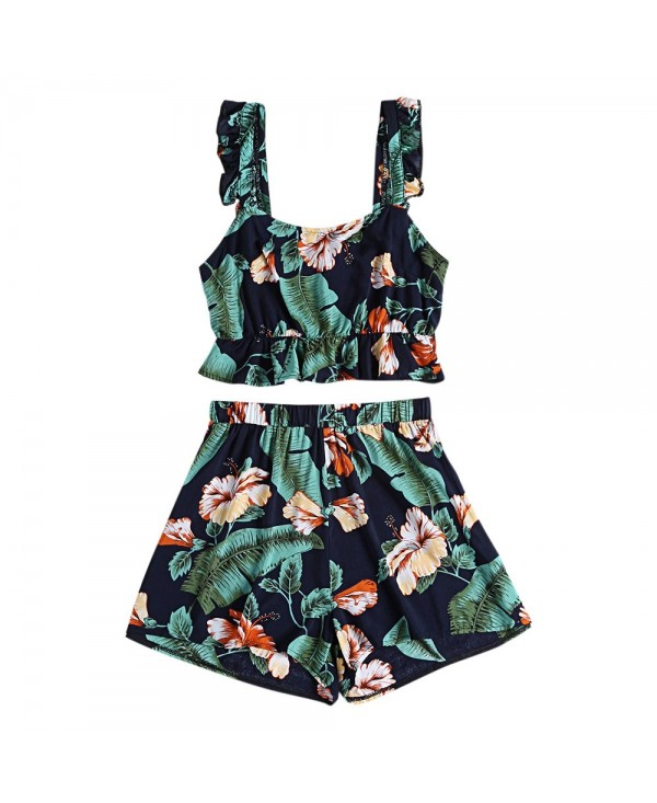 Floral Print Backless Ruffle Crop Top High Waist Shorts Women Two-piece Suit