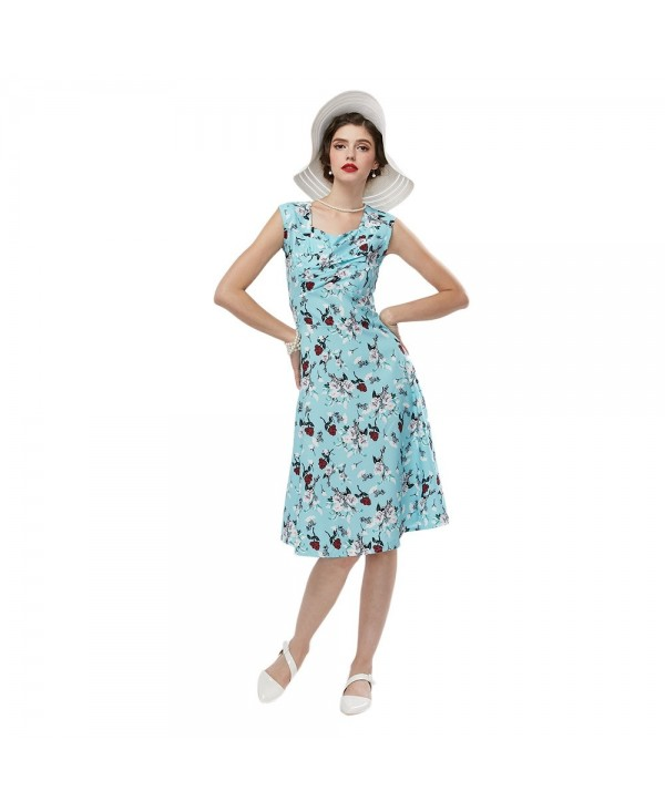 Vintage V-neck Sleeveless Pleated Back Zipper Floral Print Ball Gown Mid-calf A-line Dress for Women