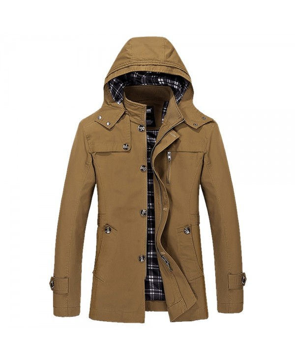 Buttons Zip Hooded Casual Trench Coat