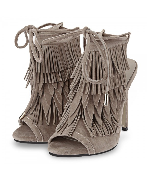 Sexy Tassel Decoration Open Toe Lace Up Ladies Thin High Heel Shoes