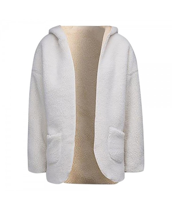 Hooded Long Sleeve Fleece Open Front Pocket Reversible Women Coat