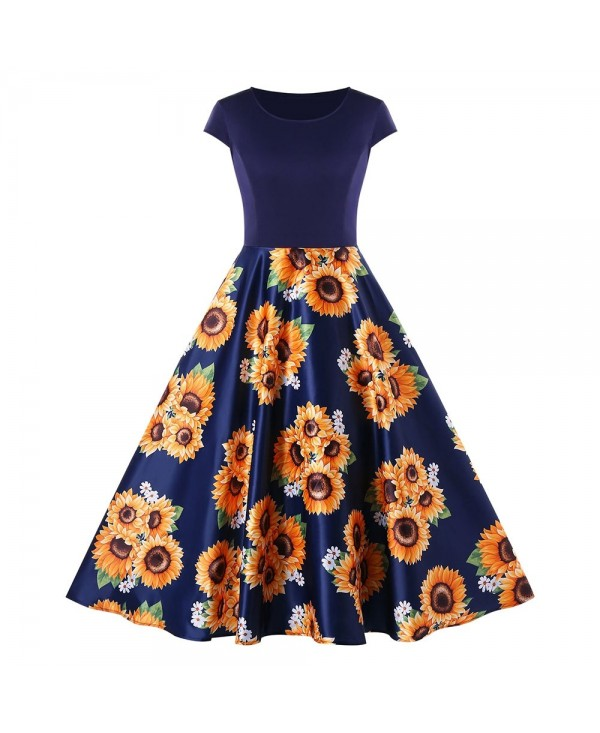Sunflower Print Round Neck A Line Dress