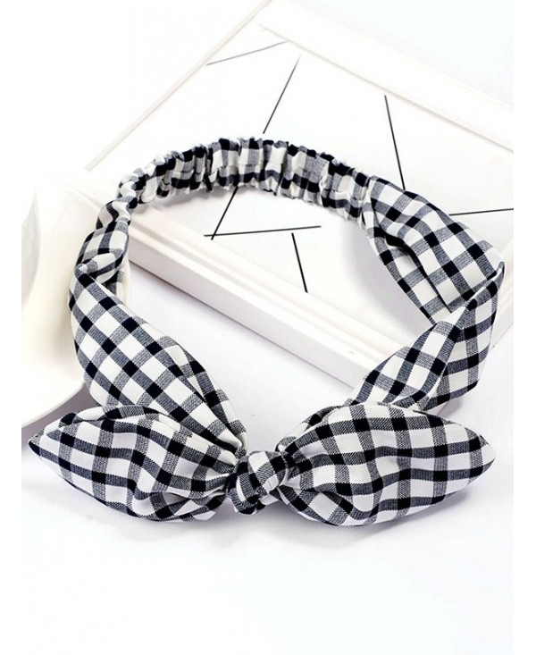 Vintage Checked Pattern Bowknot Elastic Hairband