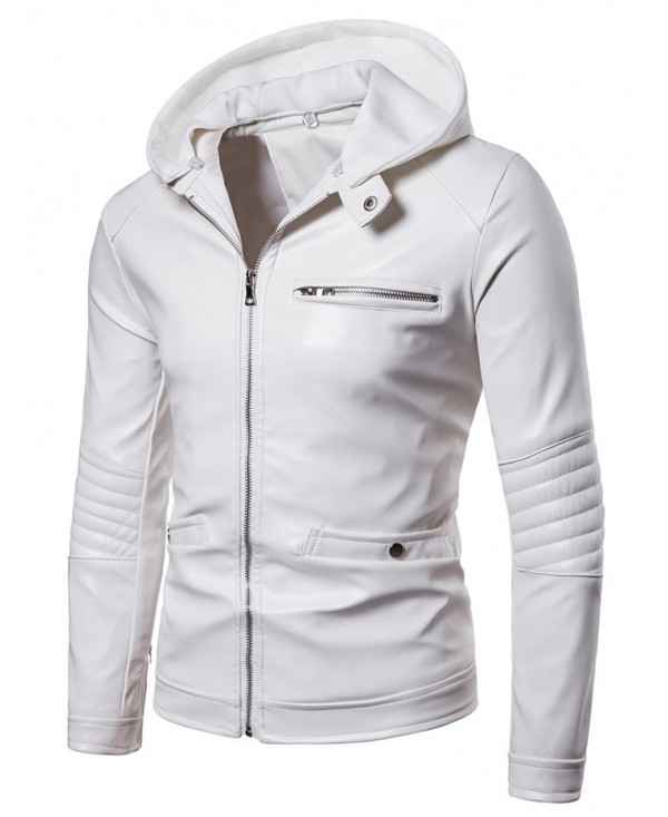 PU Leather Zip Embellished Hooded Jacket