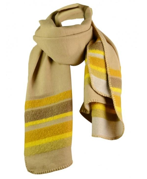 Outdoor Striped Pattern Faux Wool Reversible Long Scarf
