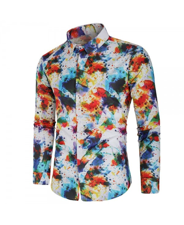 Casual Paint Splatter Hidden Button Shirt