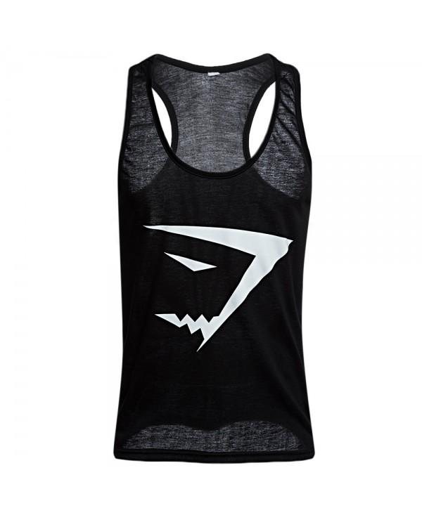 Active Scoop Collar Printed Cotton Blend Racerback Gym Tank for Men