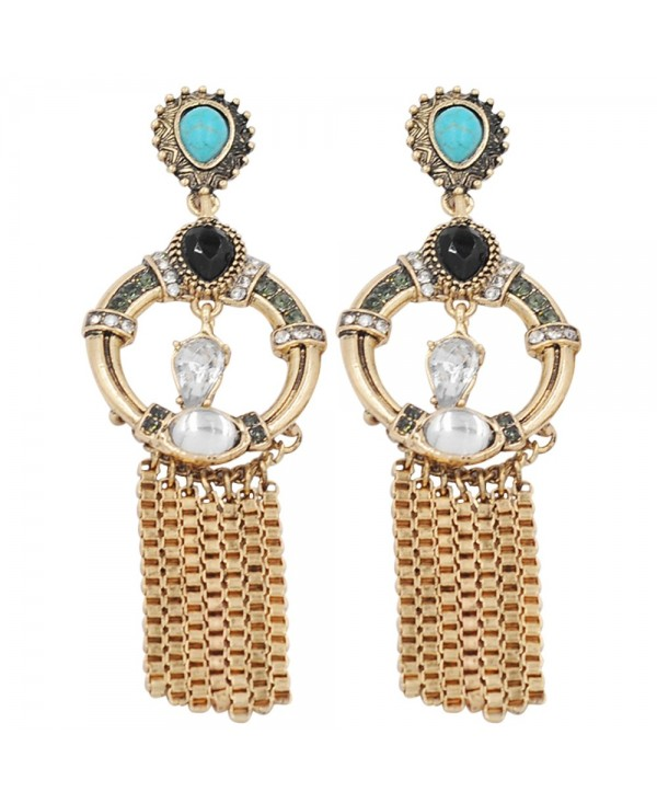 Artificial Turquoise Hollow Round Earrings