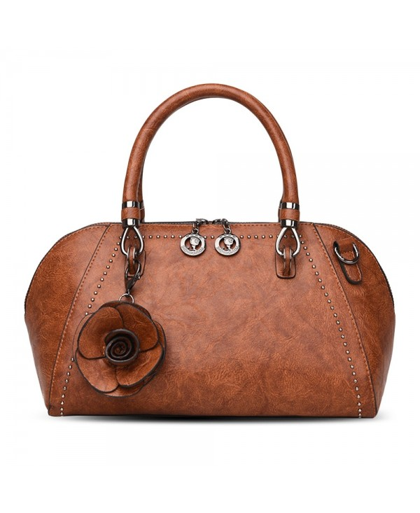 Soft PU Leather Stylish Floral Rivets Casual Women Handle Bag