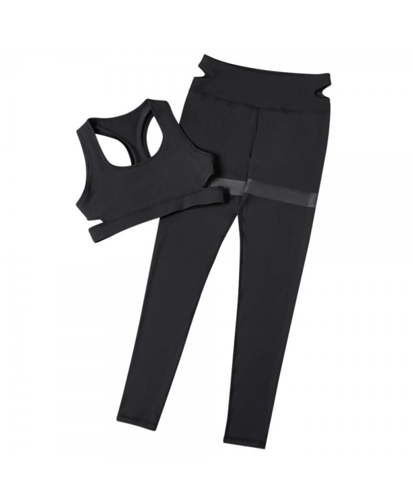 Trendy Shoulder Strap Backless Crop Top with Long Pants Women Sports Suit