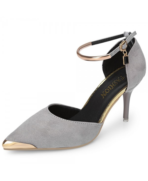 Point-toe Thin High Heel Metal Ankle Strap Buckle Women Shoes Date Party