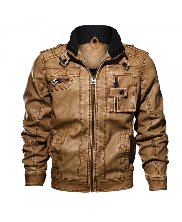 QIQICHEN 77CITY Men's Multi-pocket PU Casual Leather Jacket