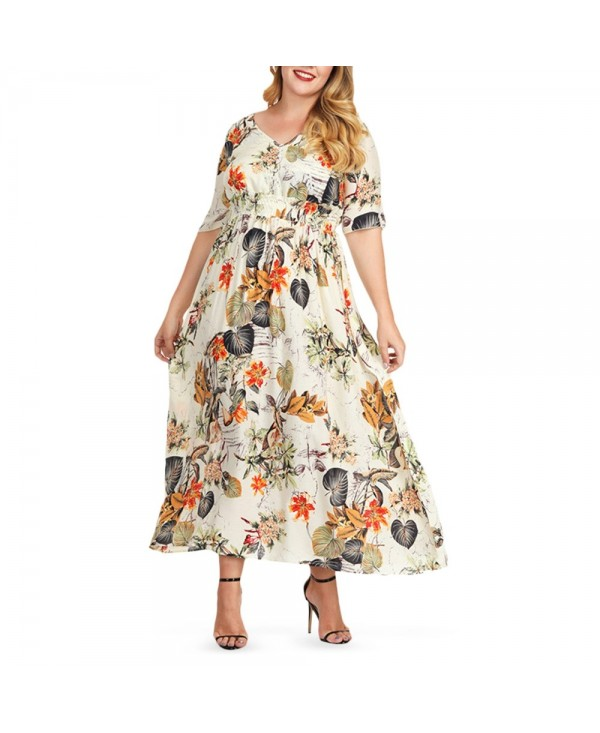 Plus Size V Neck Leaf Print Women Maxi Dress