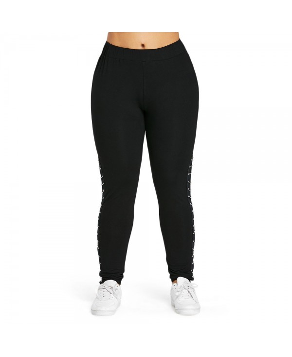 Plus Size Metal Embellished Leggings