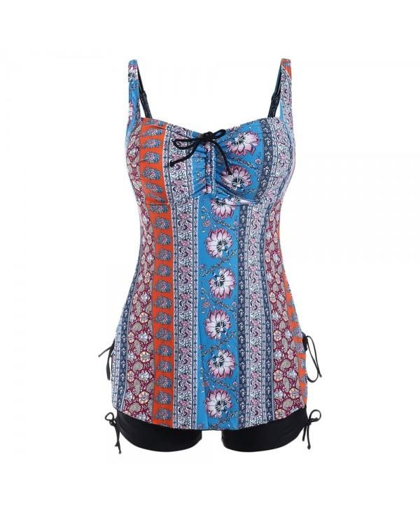 Ethnic Print Drawstring Plus Size Tankini Set
