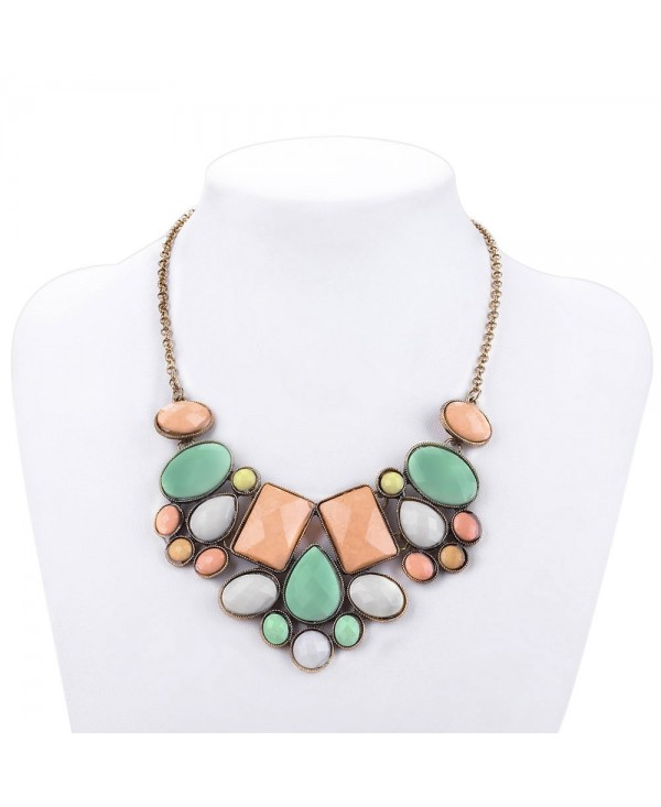 Water Drop Geometric Faux Gem Necklace for Lady