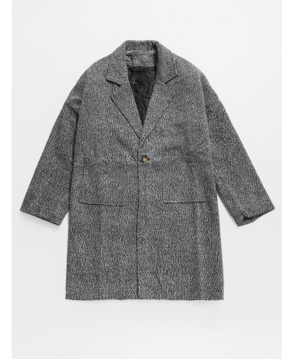 One Button Pocket Woolen Trench Coat