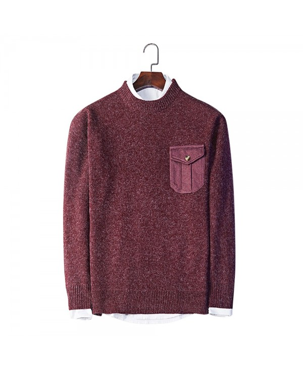 Trendy Round Collar Long Sleeve Pocket Knitted Men Sweater