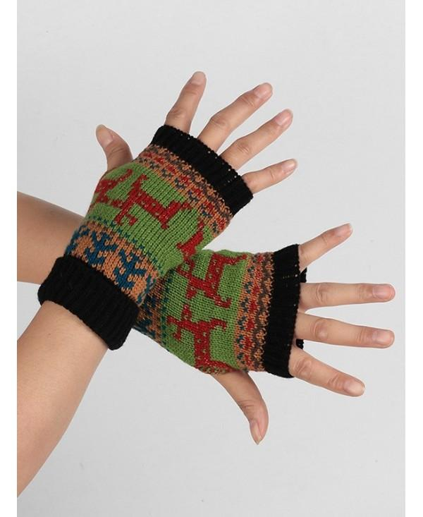 Christmas Elk Fingerless Winter Gloves
