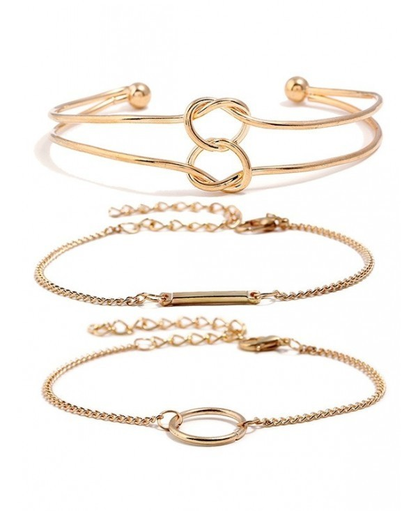 Love Heart Knot Alloy Bracelets Set