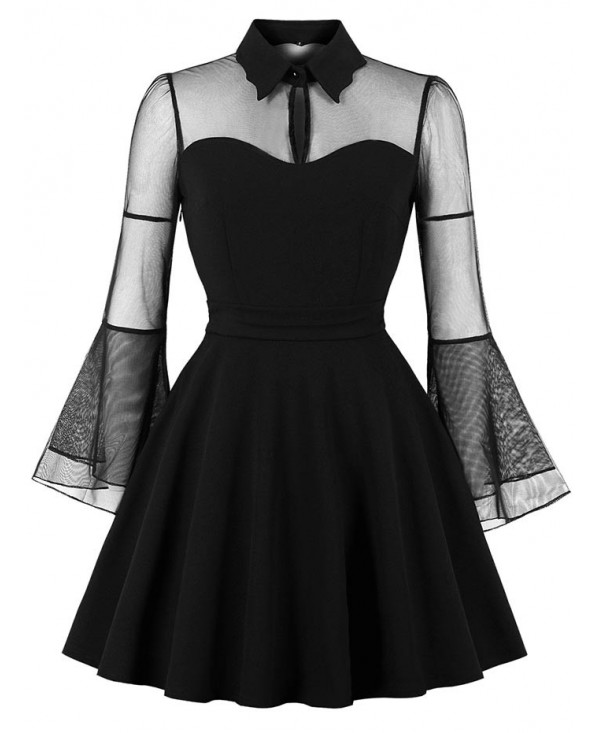 Sheer Mesh Insert Fit and Flare Dress