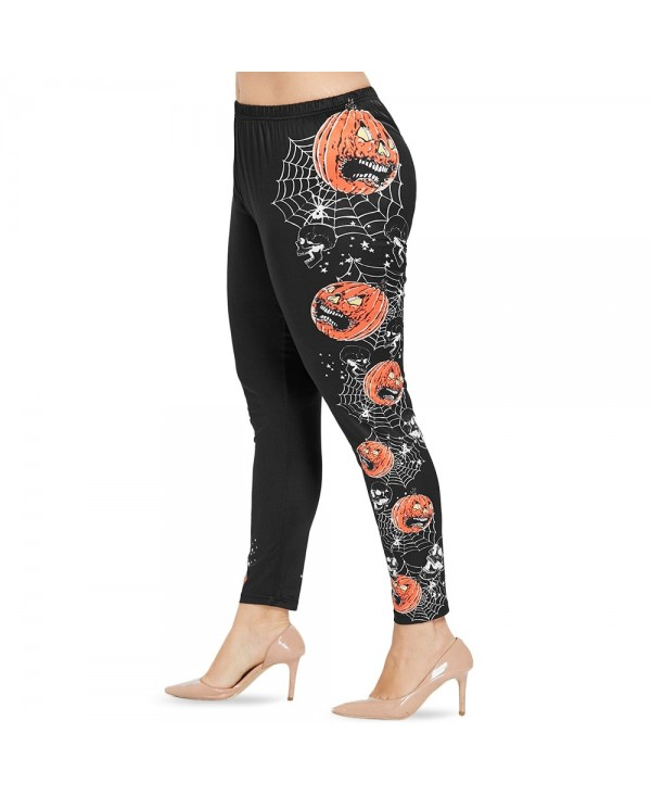 Plus Size Spider Web and Pumpkin Lantern Halloween Leggings