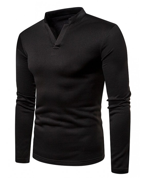V Neck Solid Color Fleece Long Sleeves T-shirt