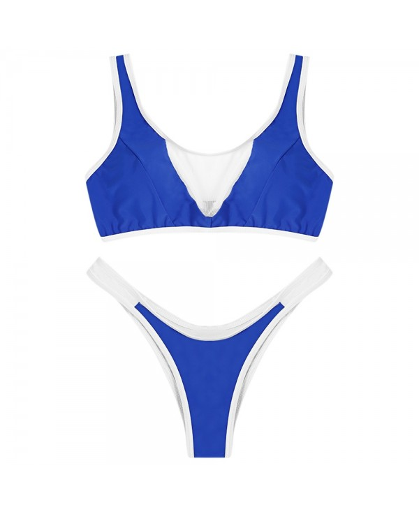 Scoop Neck Sleeveless Mesh Spliced Color Blocking Padded Women Bikini Set