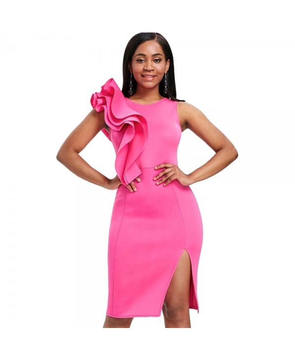 Sleeveless Ruffle Side Slit Bodycon Party Dress