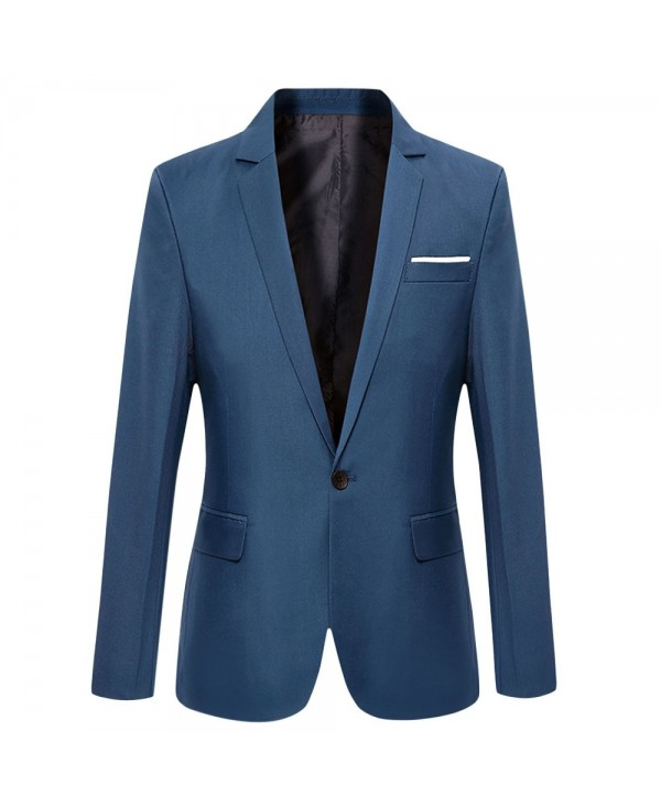 Stylish Pure Color Turn Down Collar Male Slim Fit Suit