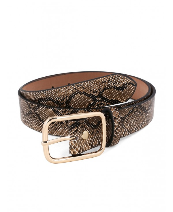 Metal Buckle Snake Pattern Waist Belt