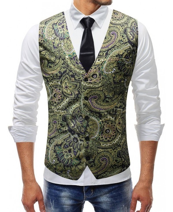 Retro Floral Printed Single-breasted Vest