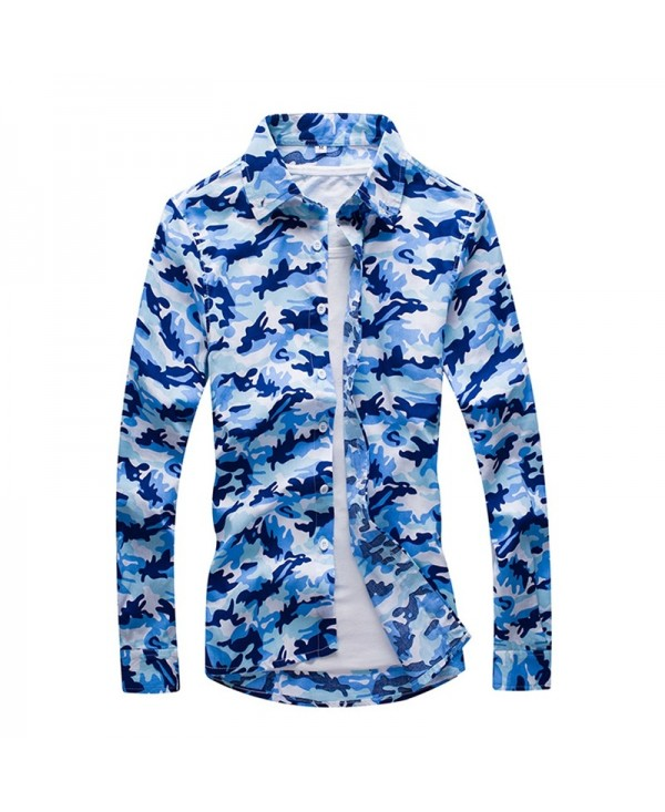 Men'S Fashion Camouflage Long-Sleeved Shirt Men